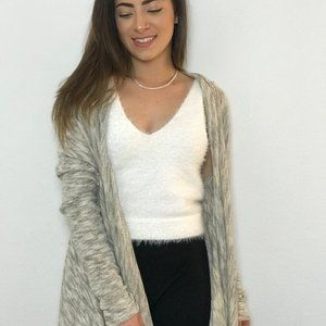 Light Grey & Taupe Open Cardigan